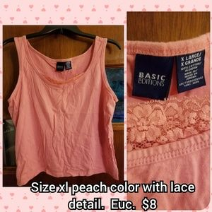 Size Xl peach color tank with lace tank